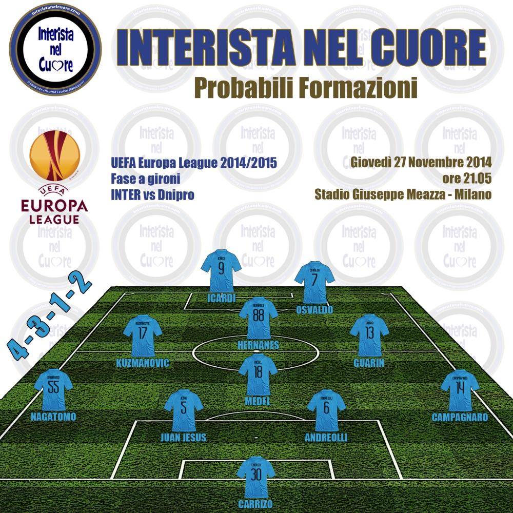 Probabili Formazioni 2014-11-27 - INTER vs Dnipro