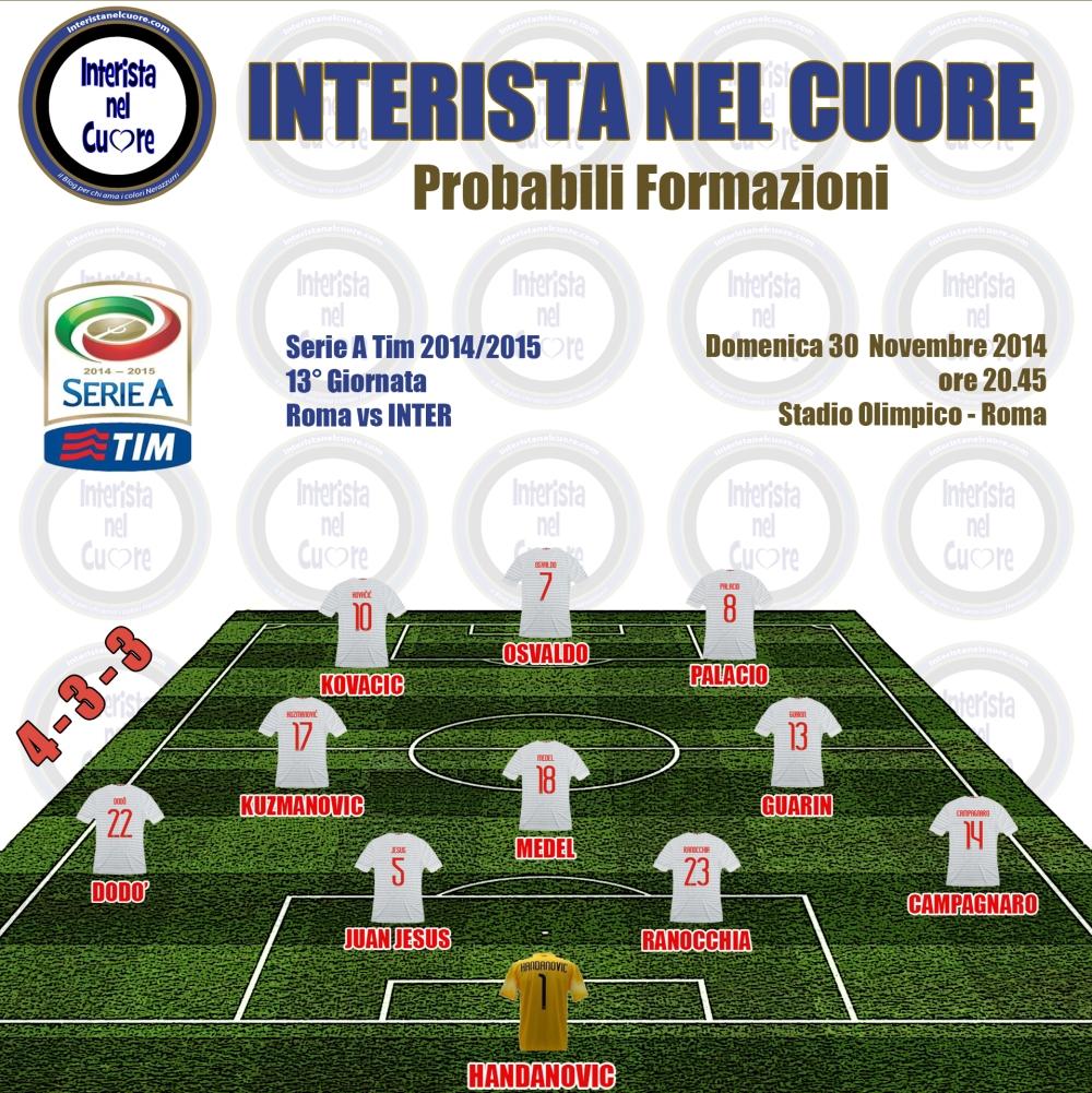 Probabili Formazioni 2014-11-30 - Roma vs INTER