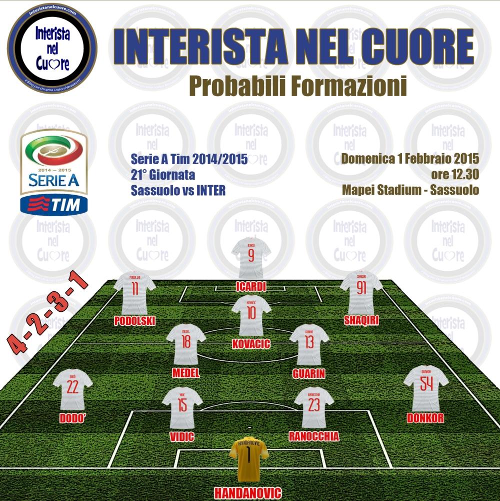 Probabili Formazioni 2015-02-01 - Sassuolo vs INTER