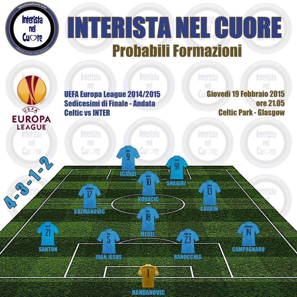 Probabili Formazioni 2015-02-19 - Celtic vs INTER