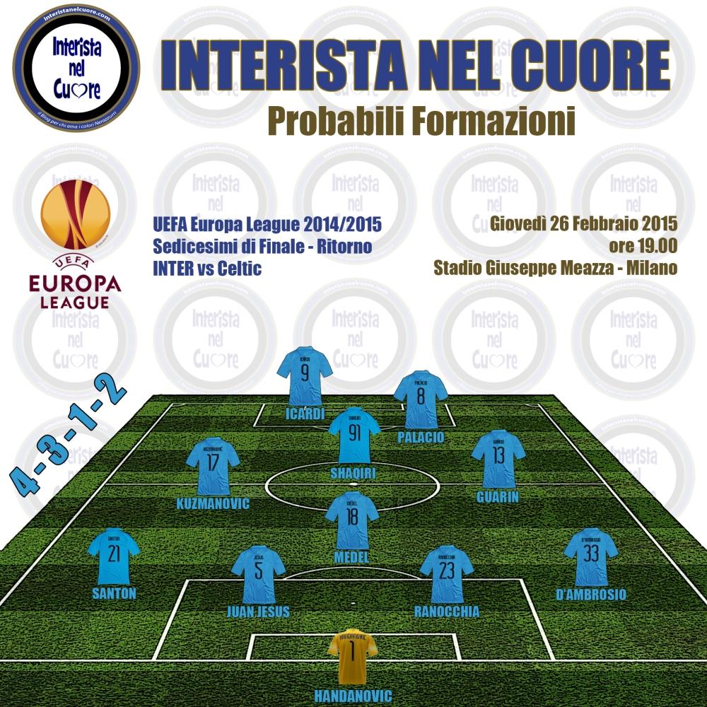 Probabili Formazioni 2015-02-26 - INTER vs Celtic