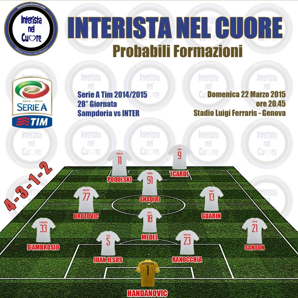 Probabili Formazioni 2015-03-22 - Sampdoria vs INTER