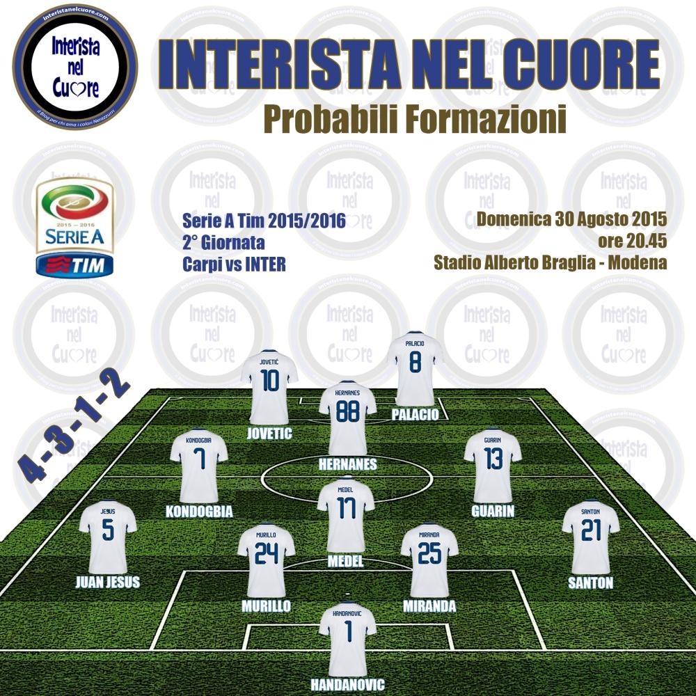 Probabili Formazioni 2015-08-30 - Carpi vs INTER